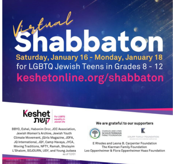 Keshet's LGBTQ & Ally Teen Shabbaton Retreats